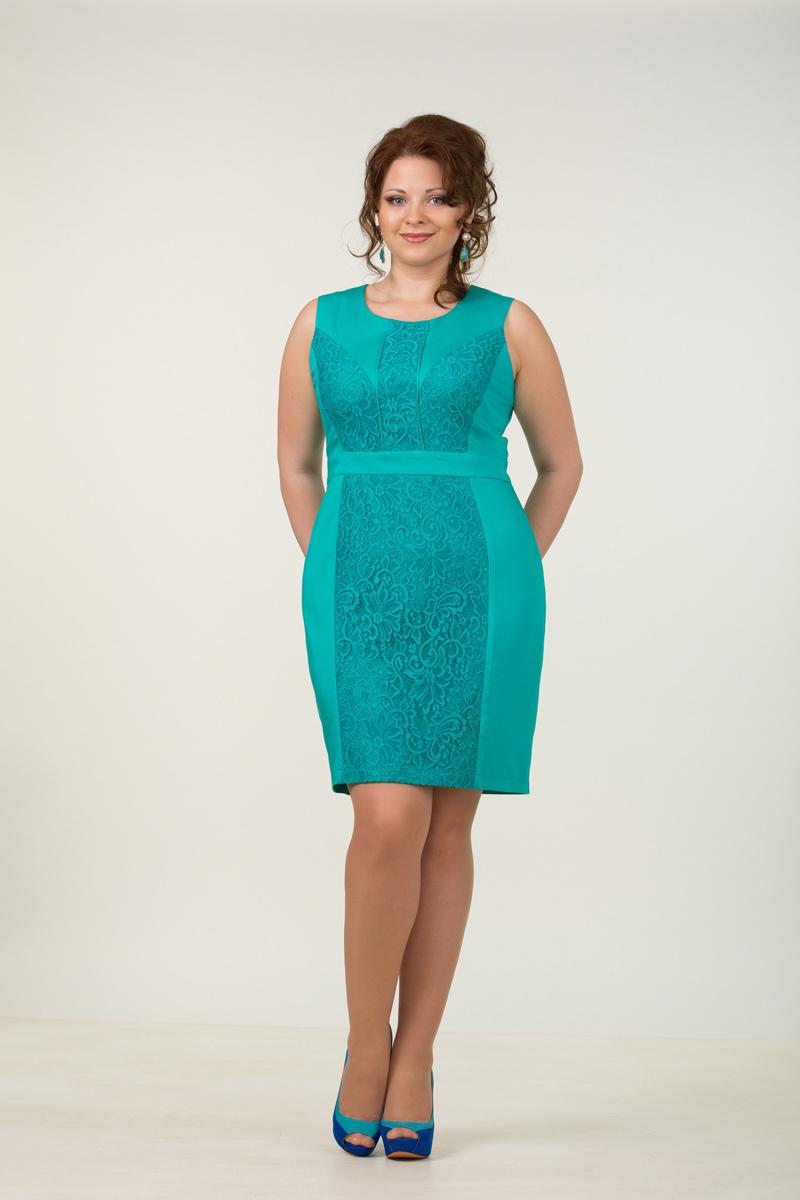 Нарядное бирюзовое платье