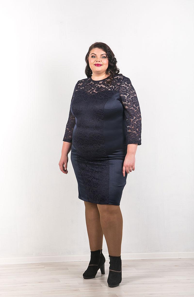 Вечернее кружевное платье большого размера