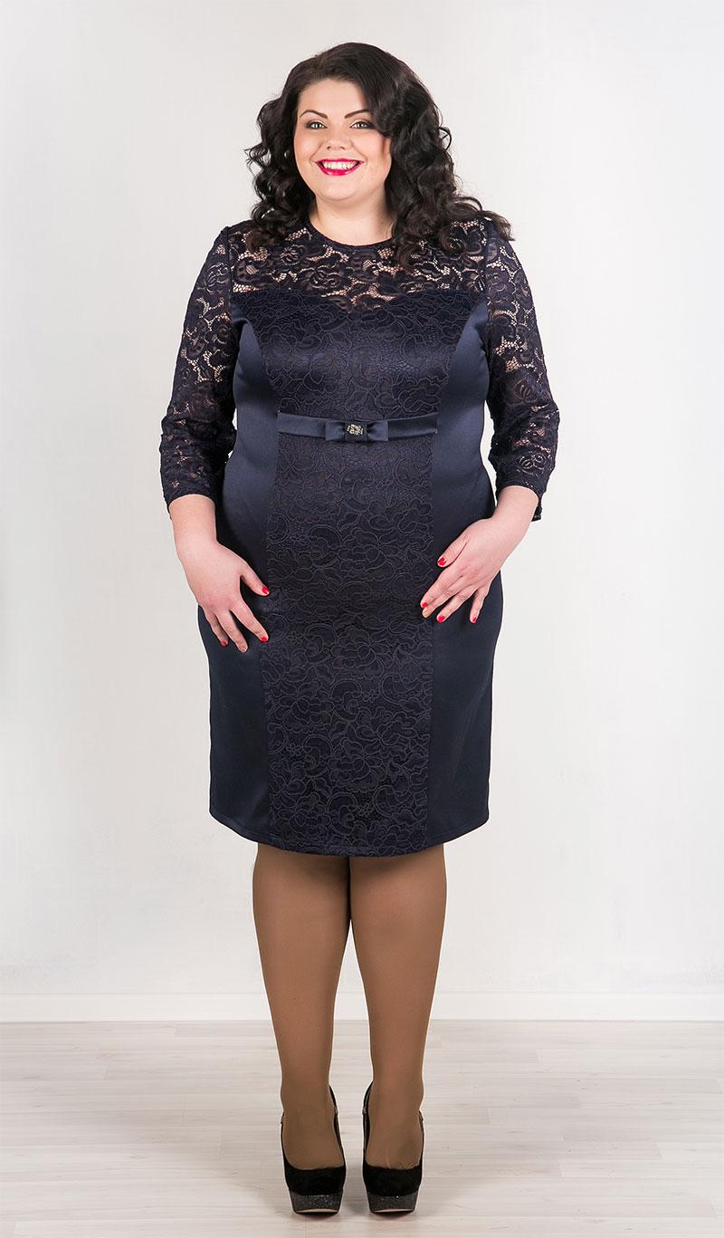Восхитительное синее кружевное платье большого размера