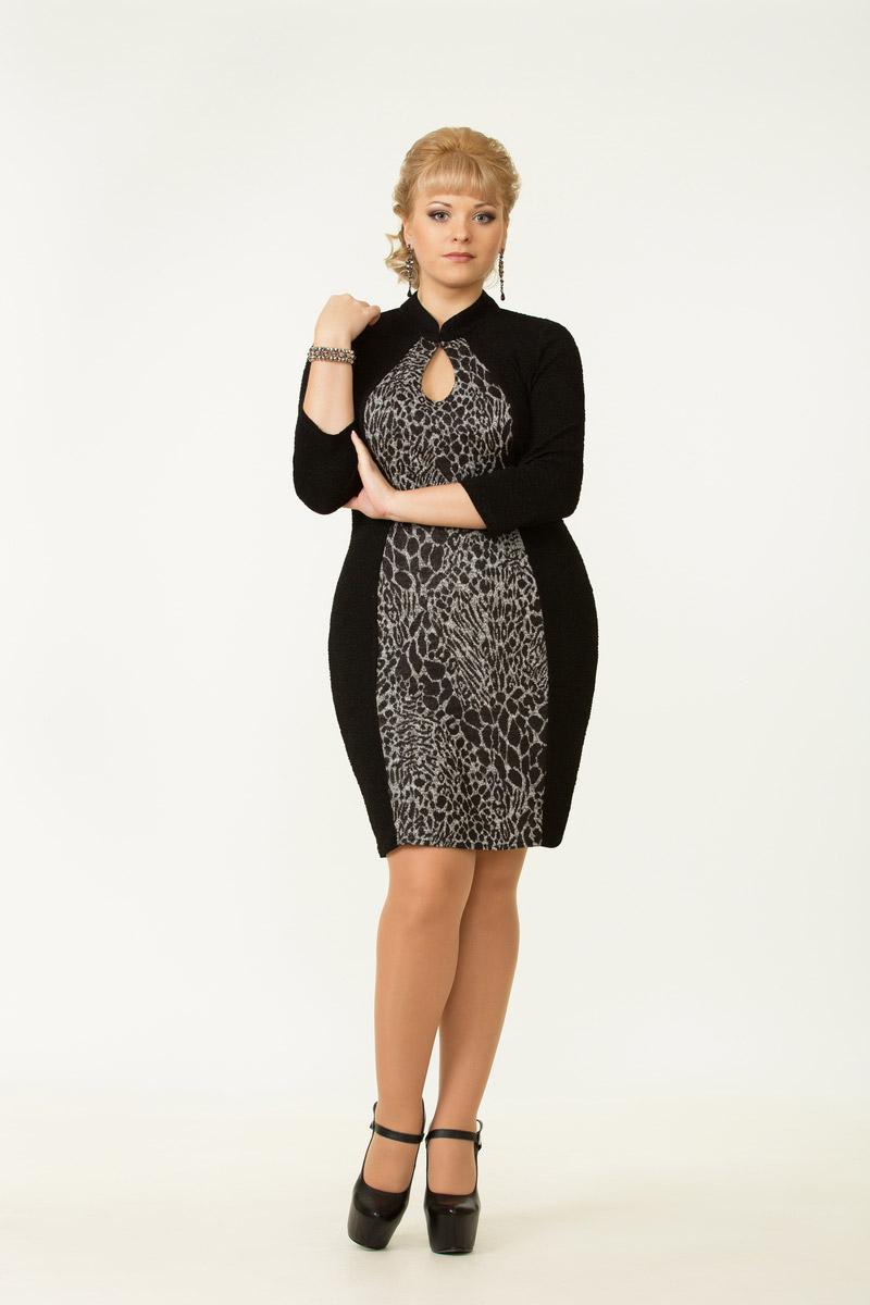 Черное платье, серебристая вставка