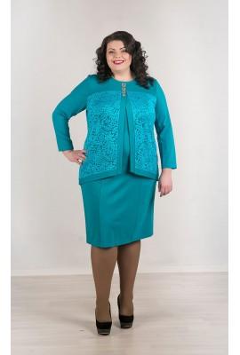 Бирюзовое платье, кружевные вставки